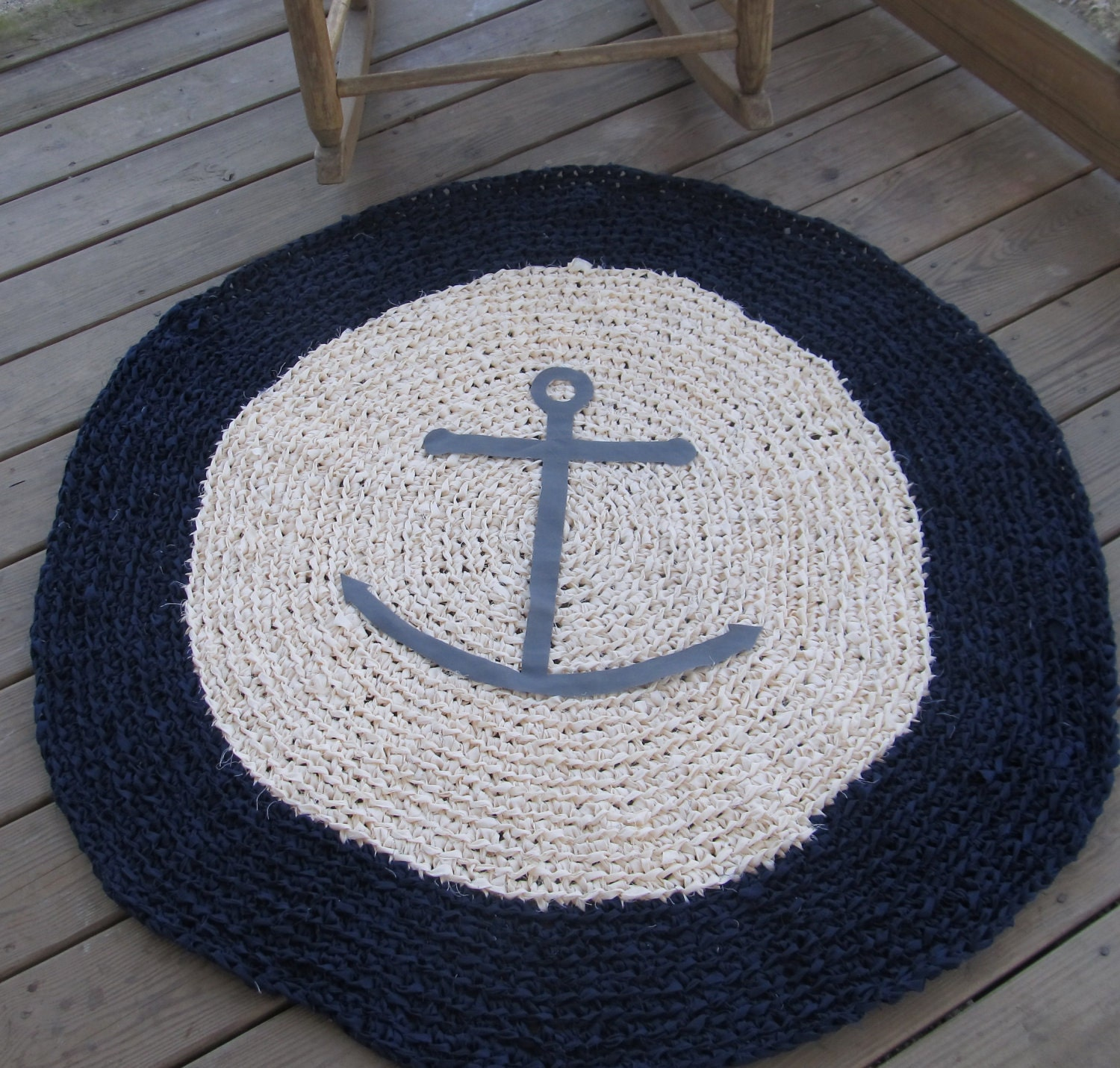 Anchor Rugs: Anchors Ahoy OOAK Crochet Nautical Round Rug Navy By