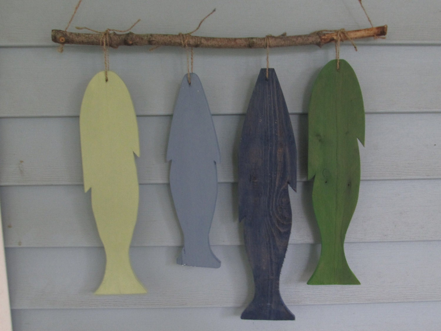 Reclaimed wood fish wall hanging custom made rustic lake for Wall hanging