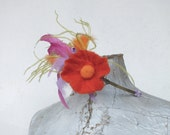 Lovely metal head band -  hair band with felted flower and feathers.
