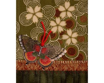 Cloisonne Butterfly Fallen Plum Blossoms on Water Embroidered Mini Asian Textile Art