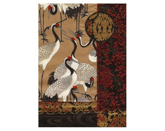 Mini Textile Art Collage Crazy Quilt Style Asian Crane Moon Ready to Frame