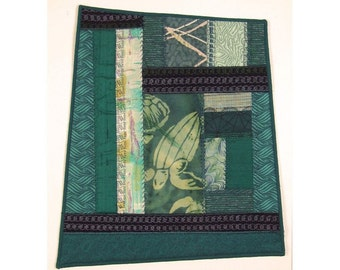Sea Turtle Quilt Art Asian Style Crazy Patchwork Abstract Wall Hanging