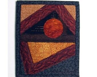 Sun Art Quilt Mini Wall Hanging Crazy Quilt Style Textile Collage Water Desert Landscape
