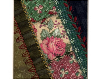 Pink Tea Rose Crazy Patchwork Mini Fabric Collage Ready to Frame