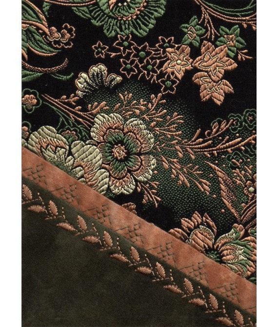 Victorian Crazy Quilt Block Vintage Brocade Green Gold Black Mini Textile Art Ready to Frame