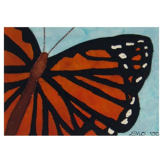 Mini Art Quilt Monarch Butterfly Mola Appliqué