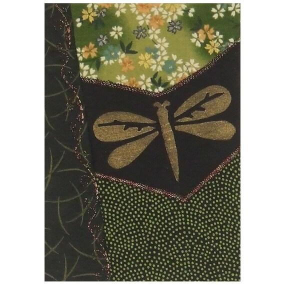 Dragonfly Spring Plum Blossom Mini Crazy Quilt Art Ready to Frame