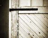 Rustic Home Decor, White Door Photograph - vintage country farmhouse barn black and white