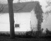 Country Barn Photograph - foggy, black and white, rustic, serene, 10x10