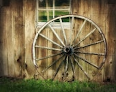 Rustic Home Decor, Barn Photograph, Wagon Wheel, Wood, Brown, Rustic, Primitive, Old Amish - Resting Place