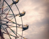 Ferris Wheel Photograph - twilight carnival summer kids nursery dusk lavender pink blue