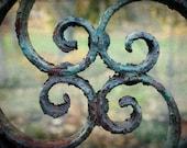 Garden Gate Photo rustic vintage secret wrought iron verdigris symmetry aged green summer 8x12 silk road inspiration