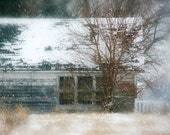Rustic Barn Photo - white, winter, shabby, run down, snow, country blue - FirstLightPhoto