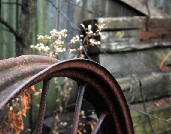 Antique Wheel Photo - country, rusty, wagon, rustic farmhouse old wagon wheel