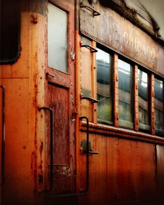 Chicago South Shore Train photograph orange rusty old burnt umber antique 8x10