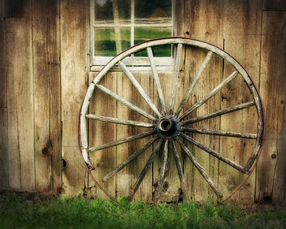 Rustic Home Decor Barn Photograph Wagon Wheel Wood Brown Rustic