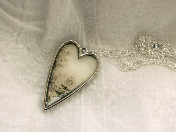 Jewelry Heart Pendant Necklace photo silver winter white pine trees for her feminine