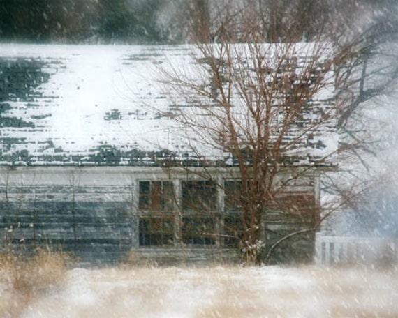 Rustic Barn Photo - white, winter, shabby, run down, snow, country blue