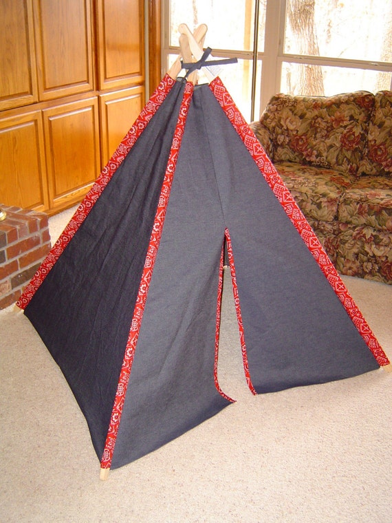 Child's Play Teepee - Wooden poles - Red Bandana and Denim (Free Shipping)