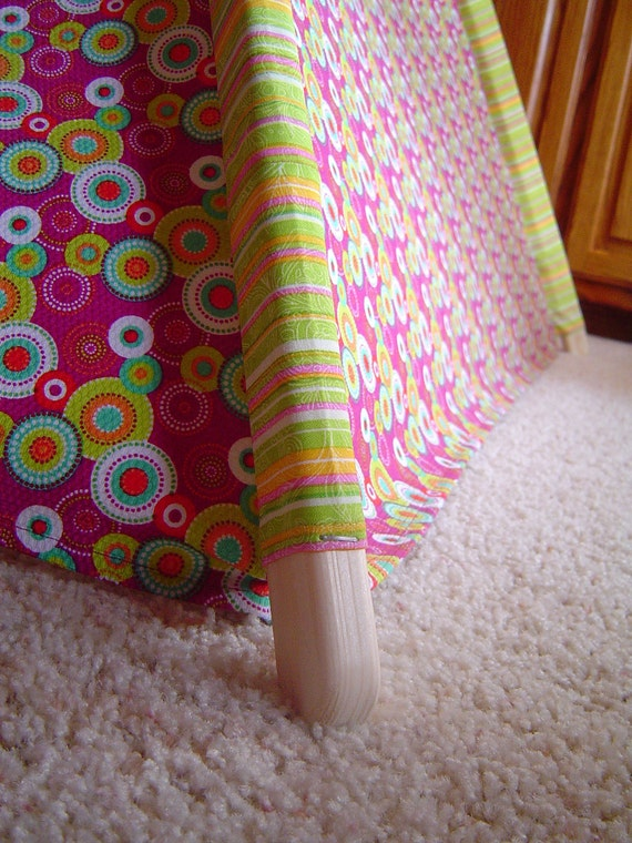 Child's Play Teepee - Wooden Poles - Lime Green, Aqua, White on Mulberry (free shipping)
