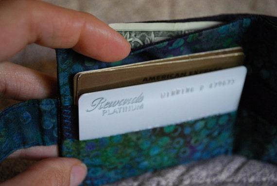 Women's wallet - peacock batik with coin pocket