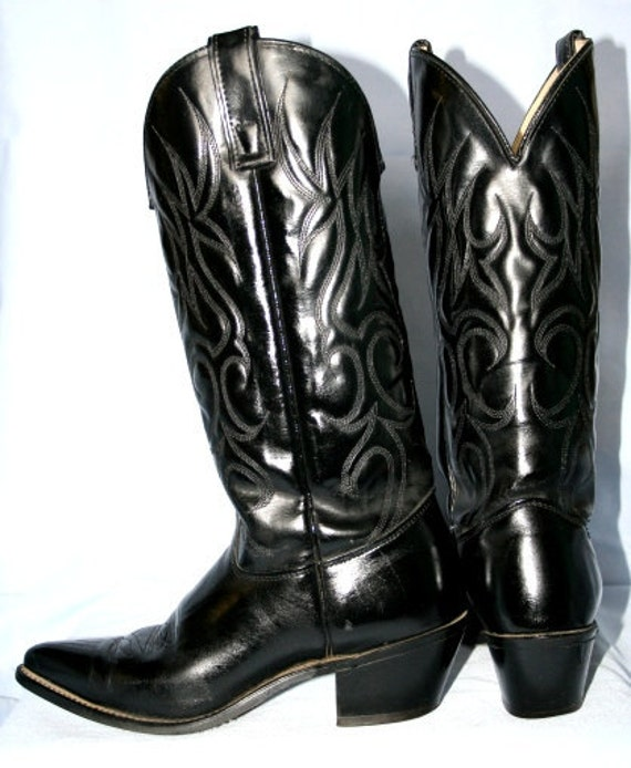 sheplers miranda lambert black leather high heel cowboy boots