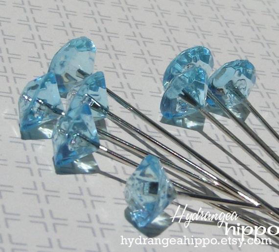 Set of 8 Blue Gem Decorative Floral Stick Pins -- 2 inches long