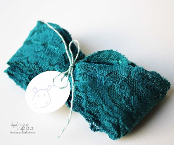 LAST ONE - Ornate TEAL Lace Trim - 3 Yards