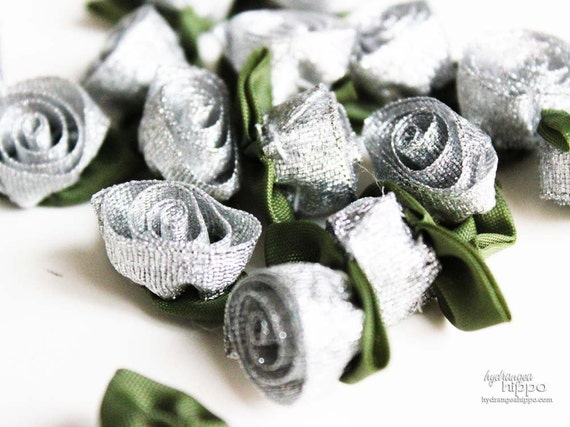 Silver Ribbon Roses -  24 pieces