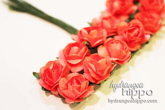 Coral Pink Orange Mini Roses - 2 Sets of 12 - 24 Pieces on Wire Stem