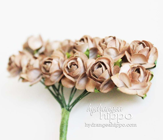 UNIQUE - Kraft Mini Roses - 2 Sets of 12 - 24 Pieces on Wire Stem