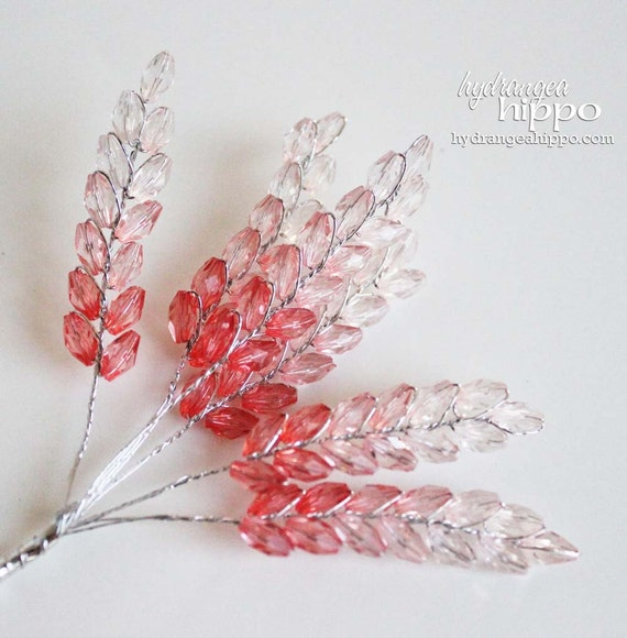 Beaded Spray - 2 sets of 6 - 12 Pieces - 3 inches long - Pink Cherry Lemonade Ombre