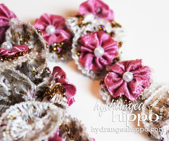 Dusty Rose Pink - Rosette Style Flowers - 24 pieces