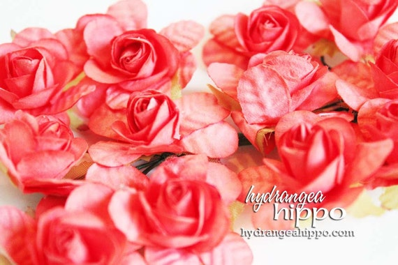 Coral Tango Large Roses - Set of 12 on Wire Stem