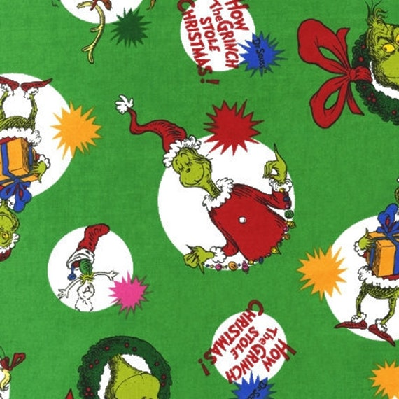 Grinch Who Stole Christmas Fabric Character Bubbles Green ADE-11229-223 END of Bolt Piece 12 inches