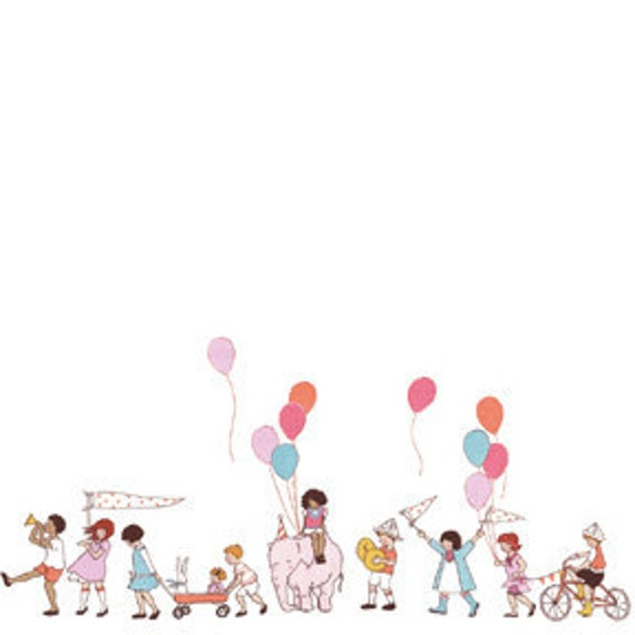Children at Play by Sarah Jane Studios 1 Yard of On Parade Multi