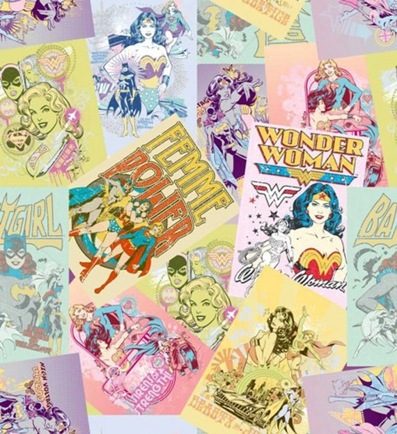 Girl Power by DC Comics for Camelot Cottons - Wonder Woman Collage Multi(23400202) END of Bolt Piece 16 inches
