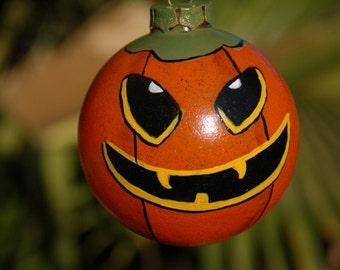 Hand Painted Vampire Pumpkin Halloween Glass Ornament