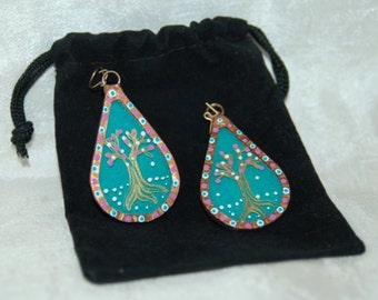 Handmade Turquoise Glass and Copper Earrings Gold Tree Hand Painted