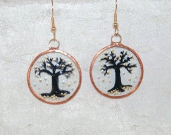 "Handmade ""Gothic Tree"" Glass and Copper Earrings"