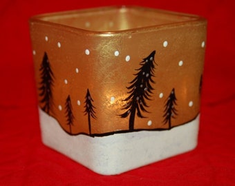 """Hand Painted """"Christmas By Moonlight"""" Glass Candle Holder Gold and Black"""