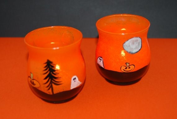 Halloween Candle Holders Orange and Black by ...