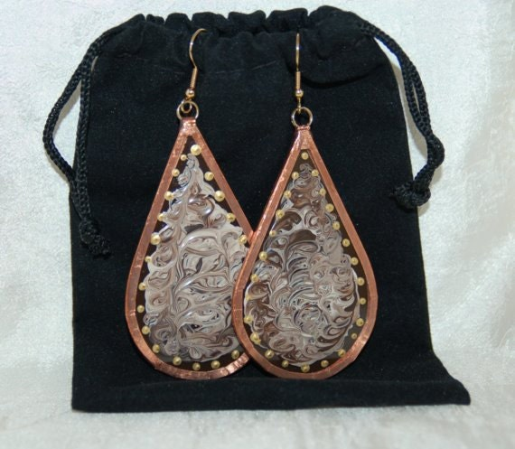 Brown and Beige Glass and Copper Earrings Handmade and Hand Painted