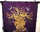 Sanctuary Hand Embroidered Hand Painted Silk Wall Hanging