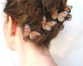 five silk monarch butterfly hair clips . the long journey . for whimsical days