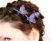 three dark purple handmade silk butterfly hair clips . in the starry sky