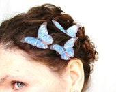 flutterings . three vivid blue pure dupioni silk butterfly hair clips