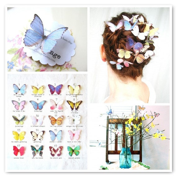 RESERVED for cheightchew . the butterfly house . four sets . all TWENTY handmade silk butterfly hair clips