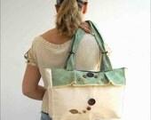 Natural sage green canvas tote handbag