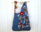 RESERVED FOR ROBIN Boho bag colorful blue denim wooden handle handbag embroidered
